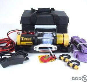 Лебедка переносная электрическая T-MAX ATW-PRO 2500 с синтетическим тросом для снегоходов и легковых автомобилей